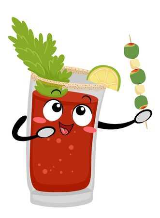 Illustration of a Caesar Drink Mascot Holding a Stick of Olives and Cheese