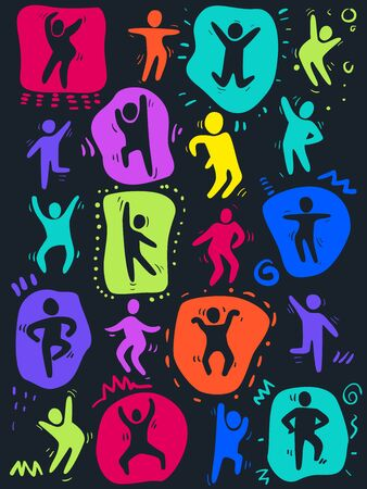 Illustration of Several People Silhouette in Different Poses Dancing in Colors