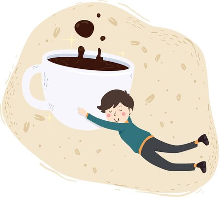 Illustration of a Man Floating and Hugging a Cup of Coffee Foto de archivo - 130760578