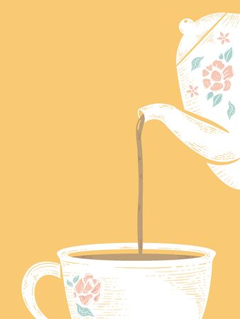 Background Illustration of a Pot Pouring Tea Into a Cup