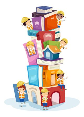 Illustration of Stickman Kids Wearing Yellow Hard Hat and Vest with Books Stacked as a Building