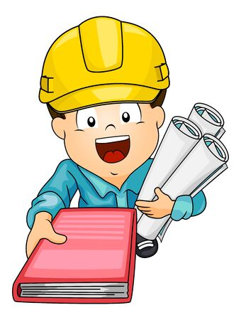 Illustration of Kid Boy Wearing Yellow Hard Hat Showing a Book about Construction and Holding Building Plans Фото со стока