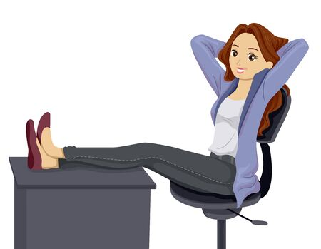 Illustration of a Teenage Girl Sitting With Hands Up and Feet Up on a Desk