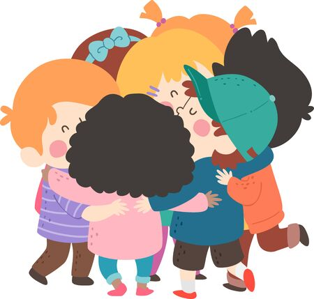 Illustration of a Group of Kids in a Group Hug