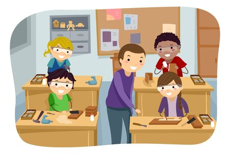 Illustration of Stickman Kids with Instructor at a Woodworking Camp