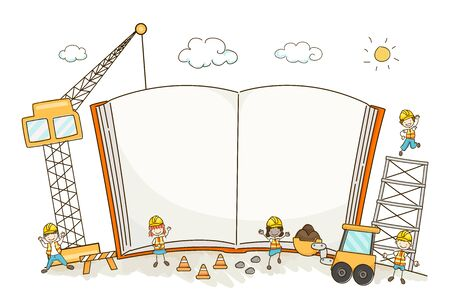 Illustration of Stickman Kids in an Open and Blank Construction Book with Crane and Excavator