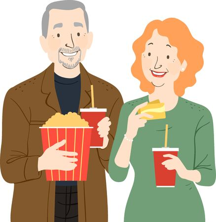 Illustration of a Senior Couple with Popcorn, Drinks and Movie Cards