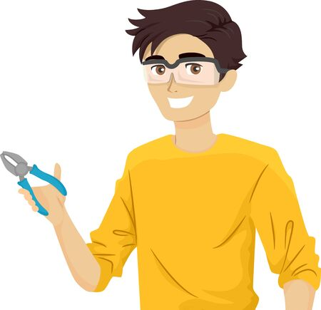 Illustration of a Teenage Guy Technician Wearing Goggles and Holding Pliers Stok Fotoğraf