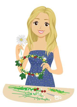 Illustration of a Teenage Girl Making a Floral Wreath for Midsummer Festival