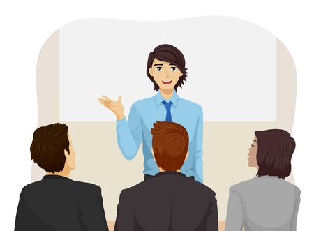 Illustration of a Teenage Guy Talking In Front of a Panel for Interview