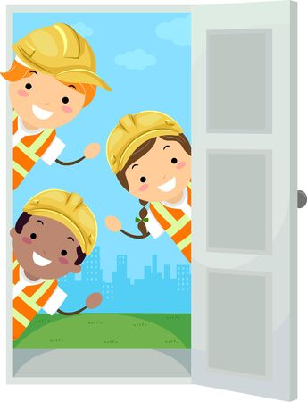 Illustration of Stickman Kids Peeking at the Door Waving and Wearing Hard Hat and Construction Vest