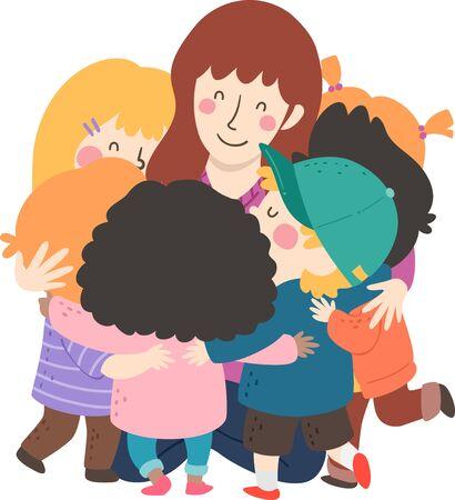 Illustration of Kids Hugging their Teacher Sitting Down