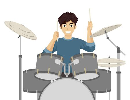 Illustration of a Teenage Guy Drumming Holding Sticks Playing the Drums