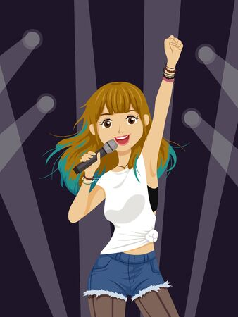 Illustration of a Teenage Girl Holding a Microphone, Singing on Stage with Spotlight