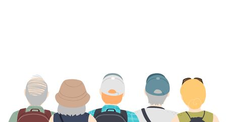 Border Illustration of a Group of Senior Tourists with Caps and Backpacks Zdjęcie Seryjne