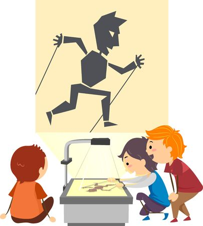 Illustration of Stickman Kids with a Projector Doing a Shadow Play with Puppet