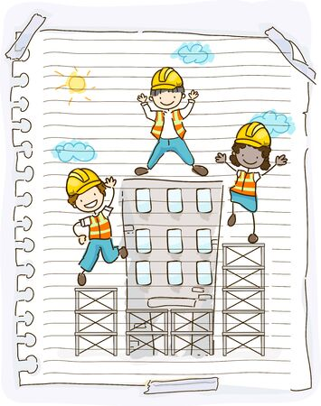 Illustration of a Doodle of Stickman Kids Wearing Yellow Hard Hats on Construction Site