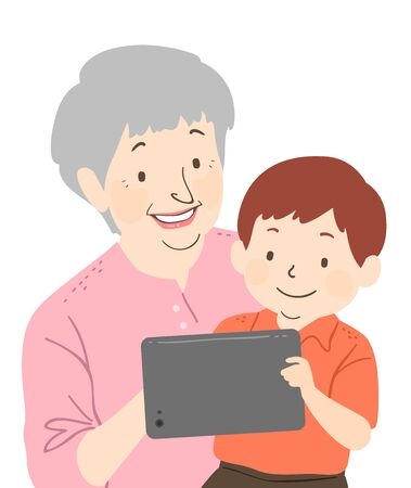 Illustration of a Senior Woman Using a Tablet Computer with His Grandson, a Kid Boy