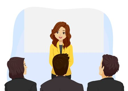 Illustration of a Teenage Girl Speaking In Front of a Panel for an Interview