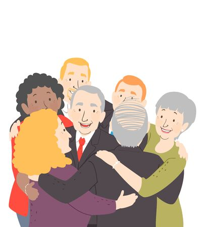 Illustration of Senior Men and Women from the Same Company in a Group Hug
