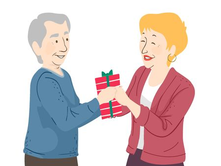 Illustration of a Senior Man Giving a Gift to a Woman