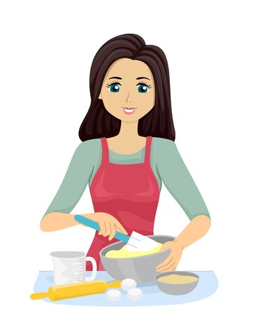 Illustration of a Teenage Girl Holding a Rubber Spatula Folding Mixture in a Mixing Bowl 스톡 콘텐츠
