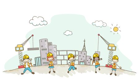 Illustration of Stickman Kids Wearing Yellow Hard Hat and Vest at the Construction Site with Cranes and Buildings