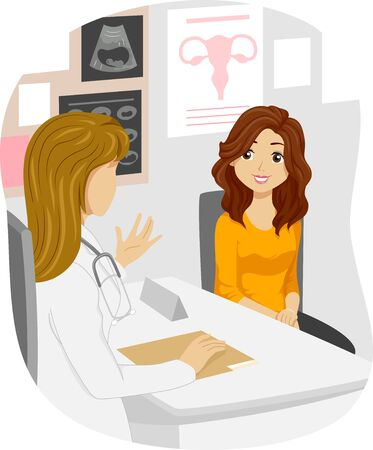 Illustration of a Teenage Girl Talking to a Doctor About Reproductive Health