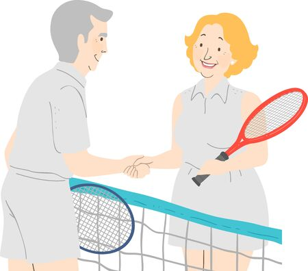 Illustration of a Senior Couple Shaking Hands in Tennis Uniform, Holding Racket at the Court
