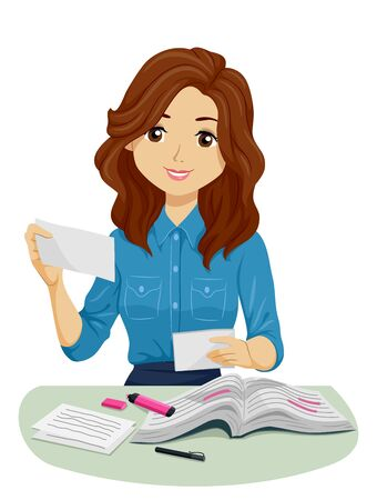 Illustration of a Teenage Girl Holding Flash Cards with Books and Markers Studying Zdjęcie Seryjne