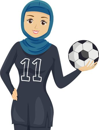 Illustration of a Muslim Teenage Girl Wearing Football Uniform and Holding a Ball Stock Photo
