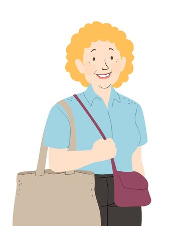 Illustration of a Senior Woman with a Reusable Grocery Bag for Shopping