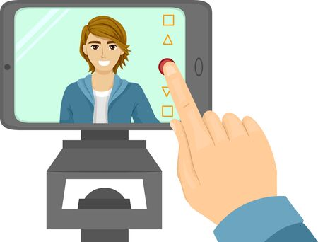 Illustration of a Teenage Guy Pressing Camera on Mobile Phone to Record Video