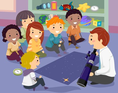 Illustration of Stickman Kids with Teacher Holding Telescope with Stars Map and Compass Фото со стока