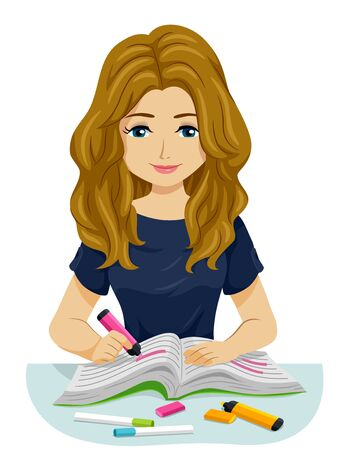 Illustration of a Teenage Girl Studying and Highlighting a Book with Markers Zdjęcie Seryjne