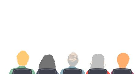 Border Illustration of a Group of Seniors Back Sitting on a Chair