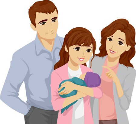 Illustration of a Teenage Girl Carrying Her Baby with Her Mother and Father Beside Her