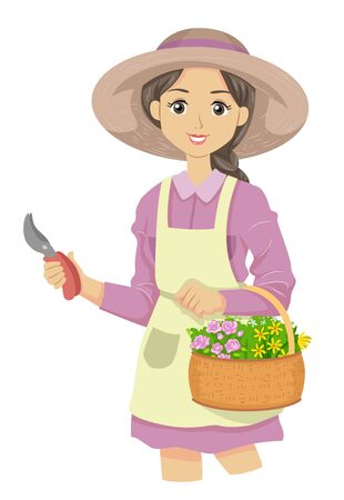 Illustration of a Teenage Girl Wearing Apron and Hat Holding a Basket Full of Flowers From Her Cutting Garden Stock fotó