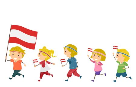 Illustration of Austrian Stickman Kids Wearing Workout Headbands and Holding Austrian Flag for Fitness Parade
