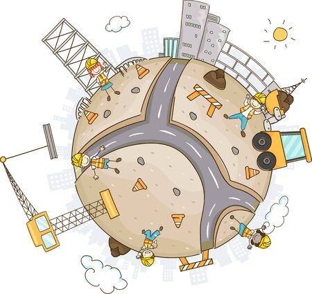 Illustration of Stickman Kids Showing a World of Construction Sites with a Crane and Excavator