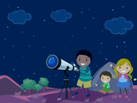 Illustration of Stickman Kids Outside Camping Tent with Telescope Looking the Stars Фото со стока