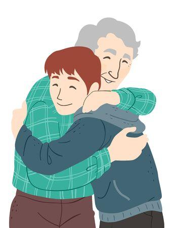 Illustration of a Senior Man Hugging His Grandson, a Teenage Guy