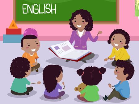 Illustration of Stickman African Kids and Teacher Sitting in a Circle with an Open Book and Discussing About English