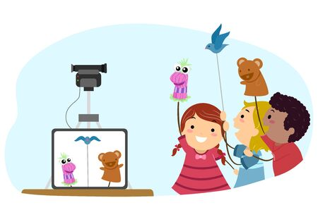 Illustration of Stickman Kids Puppeteer Recording a Video of their Puppets including a Sock Puppet