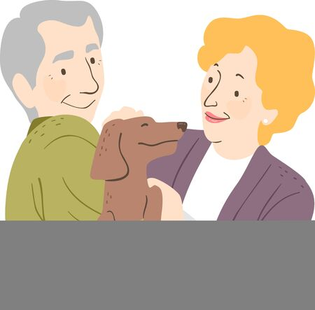 Illustration of a Senior Couple with their Pet Dog 写真素材