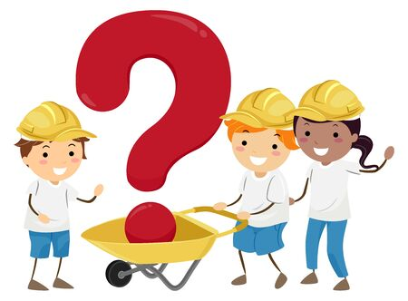 Illustration of Stickman Kids Wearing Yellow Construction Hard Hat with a Wheelbarrow Carrying Question Mark