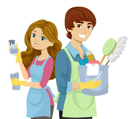 Illustration of a Teenage Couple Wearing Aprons and Holding Cleaning Tools Like Spray, Bucket, Sponges and Gloves