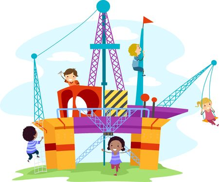 Illustration of Stickman Kids Playing in an Oil Drilling Themed Playground with Swings, Stairs and Maze 写真素材