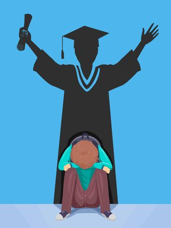 Illustration of a Teenage Guy Sitting Down Depressed with a Graduating Student Silhouette on His Back. Dropping Out, Failing to Graduate Concept