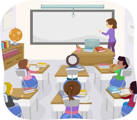 Illustration of Stickman Jewish Kids in Classroom with Ball Chairs, with their Teacher